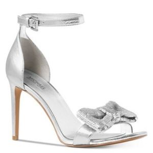 Michael Kors Silver Sequin Bow Ankle Strap Heels